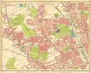 LONDON N. Muswell Hill Hornsey Wood Green Finchley Crouch End 1930 old map